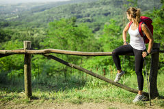 Beautiful hiker woman enjoying the view Stock Photos