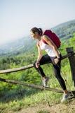 Beautiful hiker woman enjoying the view Royalty Free Stock Image