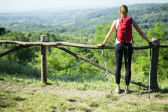 Beautiful hiker woman enjoying the view Royalty Free Stock Images