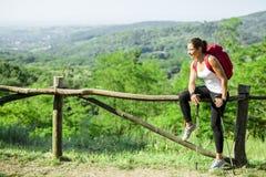 Beautiful hiker woman enjoying the view Stock Image