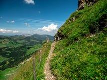 Beautiful hiking path in the swiss alps. Hohenweg sorenberg stock photography