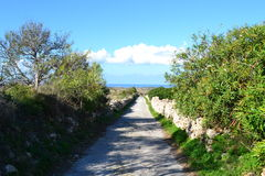 Beautiful Hiking road in Malta Royalty Free Stock Image