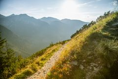A beautiful hiking trail in the mountains. Mountain landscape in Tatry, Slovakia. royalty free stock photography