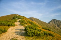 A beautiful hiking trail in the mountains. Mountain landscape in Tatry, Slovakia. stock images