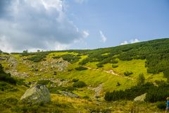 A beautiful hiking trail in the mountains. Mountain landscape in Tatry, Slovakia. Walking path scenery royalty free stock photography