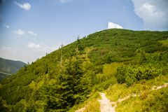 A beautiful hiking trail in the mountains. Mountain landscape in Tatry, Slovakia. stock image