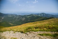A beautiful hiking trail in the mountains. Mountain landscape in Tatry, Slovakia. stock photography
