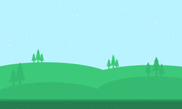Beautiful hill of silhouettes for game backgrounds. Vector Stock Photos