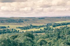 Beautiful hills and fields of Scotland. Beautiful hills and fields with trees and clouds of Scotland, UK stock image