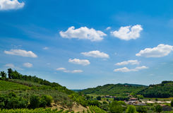 Beautiful hills. Green landscape. Beautiful landscape. Green hills and blue sky Royalty Free Stock Photos
