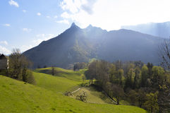 Beautiful hills near Gruyeres castle, Switzerland Royalty Free Stock Photography