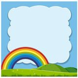 Beautiful Hills and Rainbow Template. Illustration stock illustration