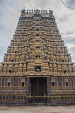 Beautiful Hindu Temple gopuram. Beautiful Gopuram of a Hindu, South Indian Chola architecture temple. Captures in Sri Lanka. Strongly adorned with figures of Stock Photos