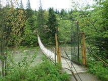 Beautiful hinged bridge across the river Prut. Stock Photos