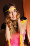 Beautiful hippie girl. Boho fashion style. Yellow and pink colors Royalty Free Stock Photography