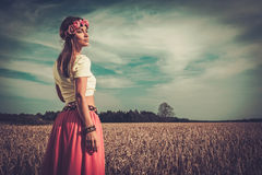 Beautiful hippie girl in a field.  Royalty Free Stock Photos