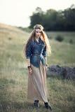 Beautiful hippie girl on nature Stock Photos