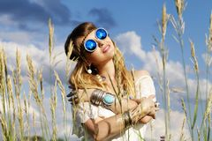 Beautiful hippie girl outdoors Stock Images