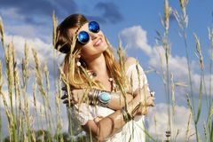 Beautiful hippie girl outdoors Royalty Free Stock Photos