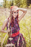Beautiful hippie girl outdoors in summer Royalty Free Stock Photos