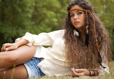 Beautiful hippie girl in the park Royalty Free Stock Photos