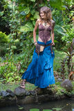 Beautiful hippie girl relaxedl in nature, close up Stock Photo