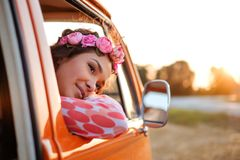 Beautiful hippie girl in a van Stock Photography