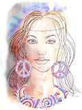 The beautiful hippie girl. Watercolor background. Royalty Free Stock Image