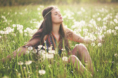 Beautiful hippie woman enjoying sun Royalty Free Stock Photo