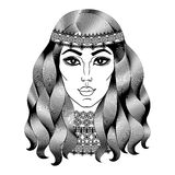 Beautiful hippie woman. Fashion girl with curly long hair. Royalty Free Stock Image