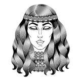 Beautiful hippie woman. Fashion girl with curly long hair. Royalty Free Stock Images