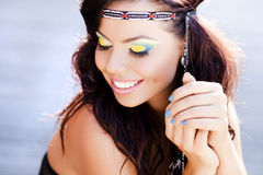Beautiful hippie woman smiling natural Royalty Free Stock Photo