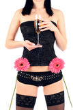 Beautiful hips and champagne glass Stock Photo