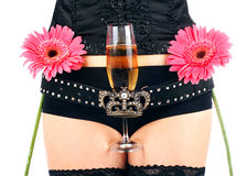 Beautiful hips and champagne glass stock image