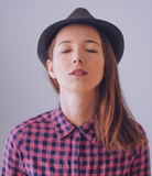 Beautiful hipster girl with closed eyes Royalty Free Stock Image