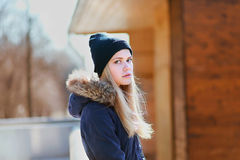 Beautiful hipster girl, cute blonde outdoors Stock Photo
