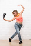 Beautiful hipster girl dancing stock image