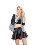 Beautiful hipster girl with long blonde hair. Casual style Stock Photo