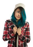 Beautiful hipster girl looking farward. On white background. Pierced, turquoise haired and dressing up a plaid shirt Royalty Free Stock Image