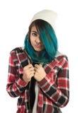 Beautiful hipster girl looking fearfully at camera Royalty Free Stock Photos
