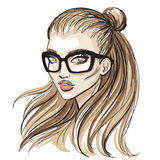 Beautiful hipster girl sketch Royalty Free Stock Image