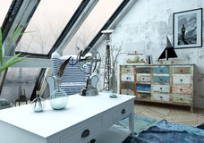 Beautiful hipster loft with large slanted windows. Beautiful hipster loft decorated with various objects on and around white table over blue carpet below large Royalty Free Stock Images
