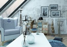 Beautiful hipster loft with large slanted windows Stock Images