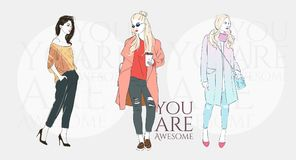 Beautiful hipster woman with trend hairstyle in a fashion jacket, pants in glasses with coffee. Vector illustration. Beautiful hipster young woman with trend royalty free illustration