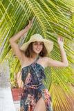 A Beautiful Hispanic Brunette Model Outdoors Stock Images