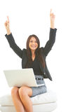 Beautiful hispanic business female with laptop excited Stock Photo