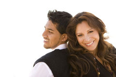 Beautiful Hispanic couple laughing and smiling. Royalty Free Stock Images