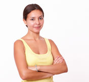 Beautiful hispanic girl with crossed arms Stock Photos