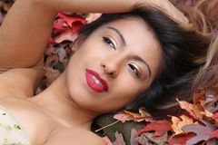 Beautiful hispanic girl looks away from the camera with slight smile. Laying in colorful fall leaves, this beautiful hispanic young woman smiles slightly in a Royalty Free Stock Photo