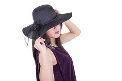 Beautiful hispanic girl wearing a hat smiling Royalty Free Stock Photo